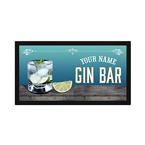 Camino de barra de cristal personalizado para ginebra y tónico, alfombrilla de bar personalizada, regalo de cerveza para el hogar, equipo de alfombrilla de goma