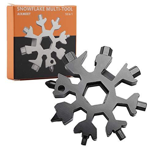 Copo de Nieve Multifuncion, Multiherramienta 18 en 1 Copo de Nieve, Snowflake Multiusos, Copo de Nieve Multiherramienta, Copo de Nieve Herramienta (Negro)