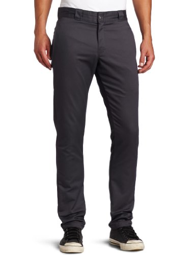 Dickies Men's Skinny Straight Fit Work Pant, Charcoal, 28x32