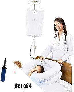 Inflatable Bedside Shampoo Basin kit, Bedside Shower System for Disabled& Elderly Bed Easy, Pregnancy, Bedridden or Post-Surgical Patient, Bed-confined Patient, Overhead Shower with Water Bag(Set of 4