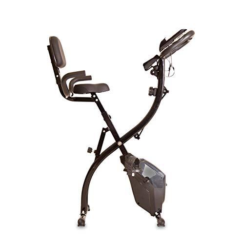 X-Bike mit Tubes, klappbares F-Bike, inkl. Expanderbändern, Rückenlehne, Trainingscomputer & Handpulssensoren, 8 Widerstandsstufen, Heimtrainer Ganzkörpertraining für zuhause, Radfahren & Rudern
