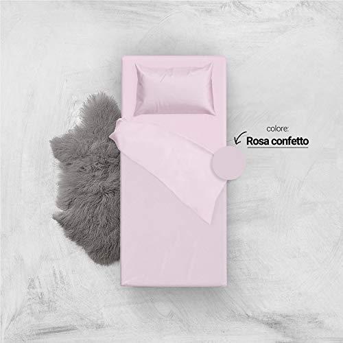 L'ANTICO ARCOLAIO Set Completo Letto Lenzuola 100% Cotone Tinta Unita (Rosa, Singolo 1P)