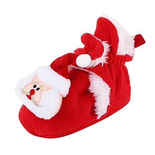 Hausschuhe Baby Weihnachten Socken Antirutsch Mädchen Junge Elch Warm Weiche Sohle Elegant Weihnachts Lauflernschuhe (12-18 Months, U1 Rot)