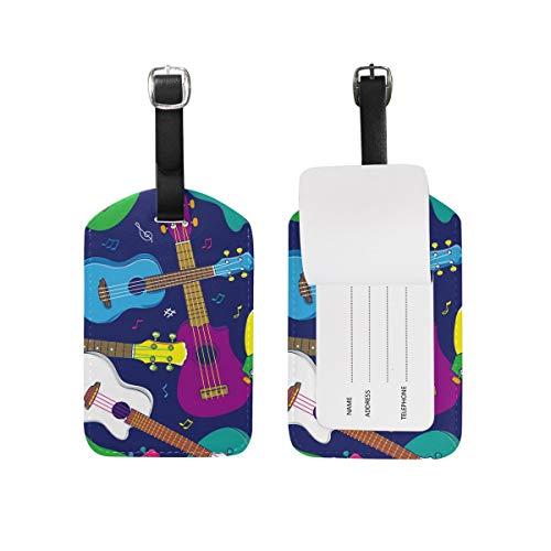 Hawaiian Ukulele Pop Colorato Etichetta Dei Bagagli DELL UNITÀ di elaborazione Sacchetto di Pelle Tag Viaggio Valigie ID Identificatore Bag