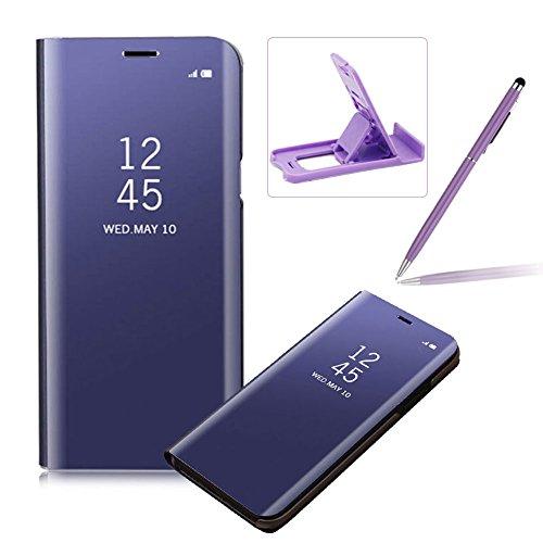 Coque Galaxy Note 8 Clapet, Herzzer Housse Étui en PU Cuir Luxe Placage Technologie avec Transparente Miroir Design Bumper Dur PC Backcover Protector Fonction Stand pour Samsung Galaxy Note 8 - Violet