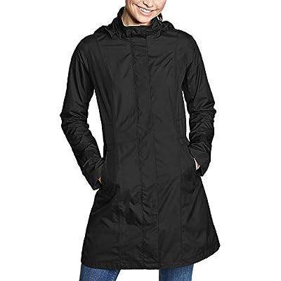 Eddie Bauer Women's Girl on The Go Trench Coat, Black Regular L Regular by Eddie Bauer