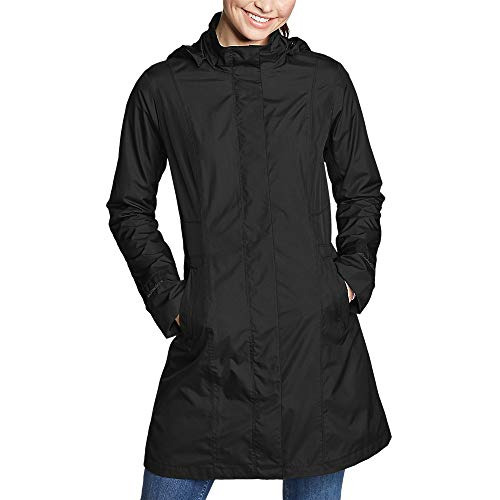 Eddie Bauer Women's Girl on The Go Trench Coat, Black Regular L