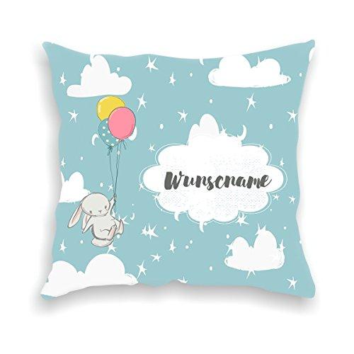 wolga-kreativ Kissen-bezug Deko-Kissen Hase mit Luftballon 40x40 cm incl. Füllung Namenskissen Geschenk-e Baby-Kissen Kinder-Kissen Kinderzimmer Babyzimmer Mädchen Junge-n mit Namen (flauschig)