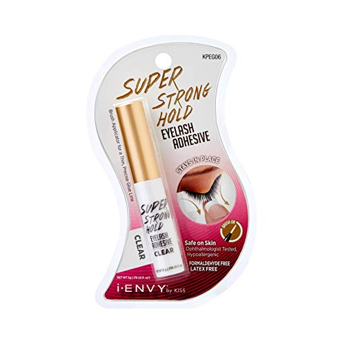 Kiss I Envy Eyelash Adhesive Super Strong Hold Clear 0.176 Ounce ( Pack of 2)