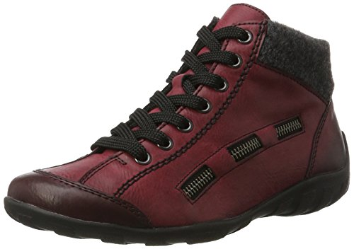 Rieker Damen L6543 Hohe Sneaker, Rot (Wine/anthrazit), 36 EU
