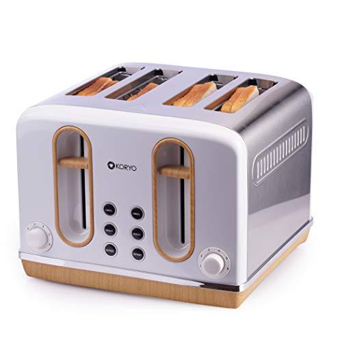 Koryo 4 Slice Pop-up Toaster 2300 Watt KPT4105BSS with Removable Crumb Tray (White)