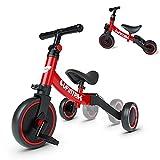 besrey Triciclos para Niños, 5 en 1 Un Bici polivalente, Triciclo,Bicicleta,Carro de Equilibrio,Caminante, 2.8kg Ligero y portátil, Adecuado para niños de 1-3 años,Rojo
