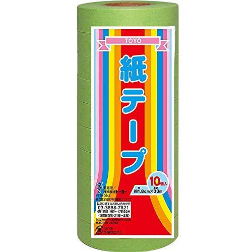 (まとめ買い)トーヨー 紙テープ 黄緑 10巻入 113019 【×5】