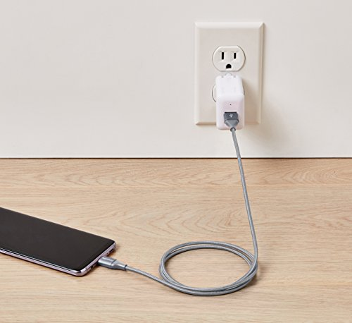 AmazonBasics Double Braided Nylon USB Type-C to Type-A 2.0 Male Cable, 3 feet, Dark Grey