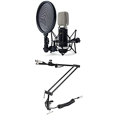 Marantz Professional MPM-3500R | Premium Ribbon Microphone With Ultra Low-Mass Diaphragm, Integrated Pop Filter/Shock Mount And Aluminium Case + Marantz Professional Pod Stand 1, Fully Adjustable Deck Mount Microphone Stand with XLR Microphone Cable for A