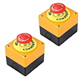 Sanfiyya botón de Parada de Emergencia de 22 mm de Signo Rojo de Setas Push Switch AC 660V 10A 2pcs Auto Bloqueo Parada de la estación Box