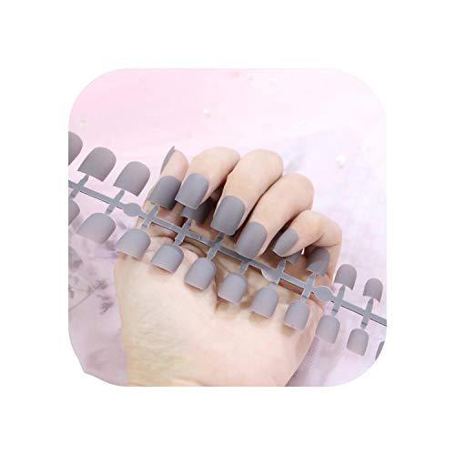 Nail Factory 24 pcs Givré Mat Ongles Pour Les Femmes Couleur Unie Faux Ongles Pleine Couverture Court Faux Conseils Ongles Artificiels-TJP720-Y8-