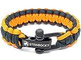 Steinbock7 Paracord Survival Armband, Orange-Schwarz - Glanz-Edelstahl Verschluss Einstellbar, Inklusive Anleitung zum Flechten