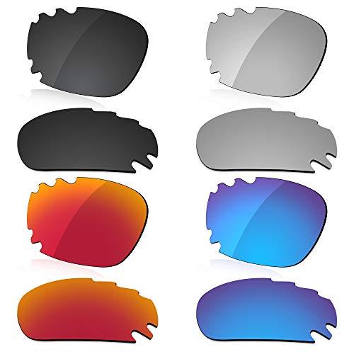 LenzReborn Polarisierte Linse Ersatz für Oakley Jawbone belüftete Sonnenbrille – mehr Optionen Gr. Einheitsgröße, Dunkelschwarz + Silbergrau + Feuerrot + Eisblau