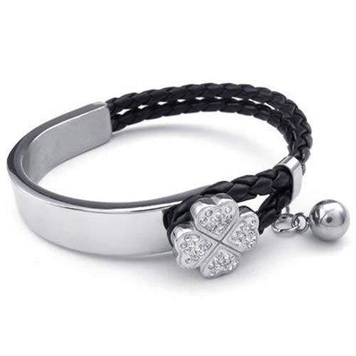 KONOV Schmuck Damen Armband, Geflochten Kleeblatt Armreif, Leder Echtleder Edelstahl, Weiß Schwarz Silber