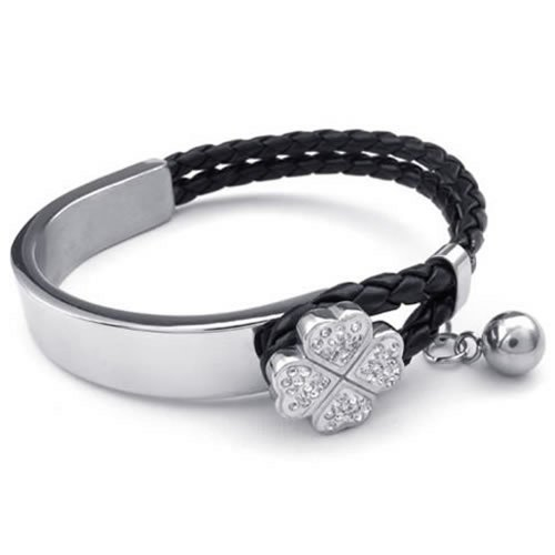 KONOV joyas pulsera para mujer–trenzado de trébol de cuatro hojas Gemelos suerte–piel–acero inoxidable–Fantasía–Cadena de mano–Color blanco negro plata–con bolsa regalo