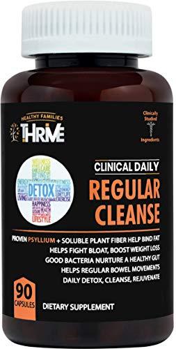 CLINICAL DAILY Regular Cleanse Psyllium Husk Powder Fiber Pills Colon Cleanser, Weight Loss Detox. Pure Health for Women and Men. W Flaxseed, Glucomannan, Bran, Aloe Vera. Plus Probiotic. 90 Capsules