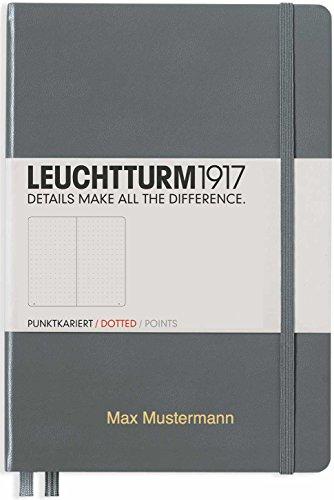 Notizbuch von Leuchtturm1917 personalisierbar mit Namen   Format A5   Farbe anthrazit   Lineatur dotted   Notizbücher (notebook) mit punktraster (gepunktet) von Leuchtturm