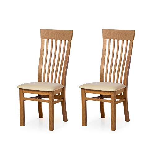 Marca Amazon - Alkove - Hayes - Set de 2 sillas clásicas de madera con asiento tapizado (roble salv