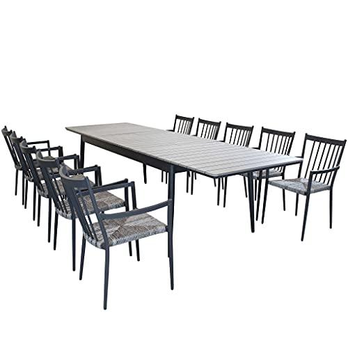 Milani Home s.r.l.s. Set Tavolo E Sedie da Giardino per Esterno in Alluminio E Polywood Cm 200/300 X 90 X 76 H con 10 Sedute Colore Antracite
