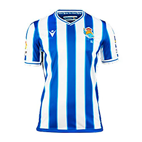 Macron Real Sociedad Primera Equipación Authentic 2020-2021 Niño, Camiseta, Royal-White, Talla XL (158-170)