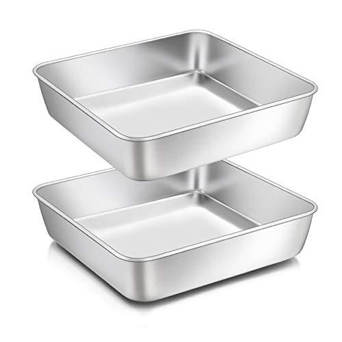 Homikit Quadratische Kuchenform, Edelstahl eckige Brownie Backform Auflaufform 2er-Set, 20 x 20 x 5 cm, Perfekt für Kuchen / Brownie / Lasagne, gesund & ungiftig, spülmaschinengeeignet