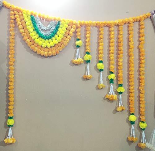 6 ft Indian Traditional Marigold Jasmine Door Hanging Artificial Flower Toran Diwali,Wedding Mehendi Haldi X-mas Decor,House Warming Parties