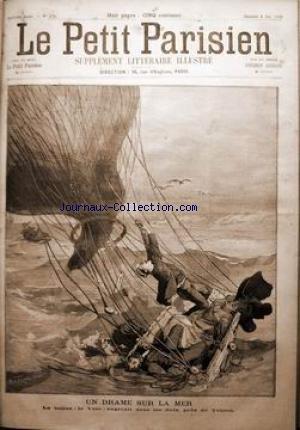 PETIT PARISIEN ILLUSTRE (LE) [No 170] du 08/05/1892 - 1-UN DRAME EN MER. LE BALLON -LE VELO - ENGLOUTI DANS LES FLOTS PRES DE TOULON. 2- SUPLEMENT LITTERAIRE - L'EXPLOSION DU RESTAURANT VERY.