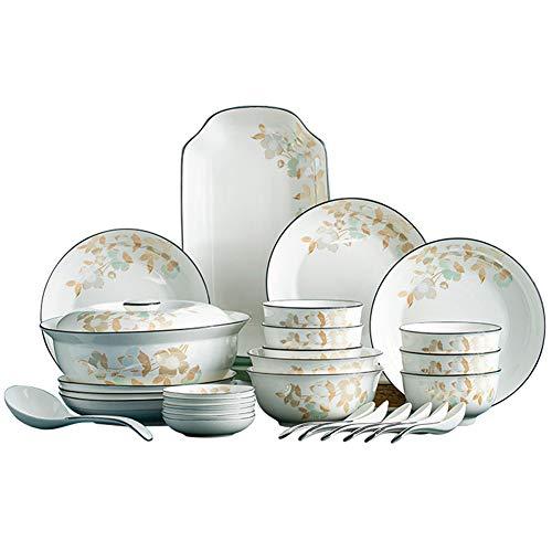 ZWW Sistema De Cerámica del Servicio De Mesa, Sistema Floral del Vajilla del Hogar De La Porcelana De Hueso De 46 Piezas   Plato De Porcelana Elegante Moderno Platos Cuenco Cuchara Olla De Sopa