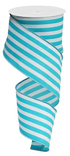 Turquoise Stripe Wired Edge Ribbon, 2.5""