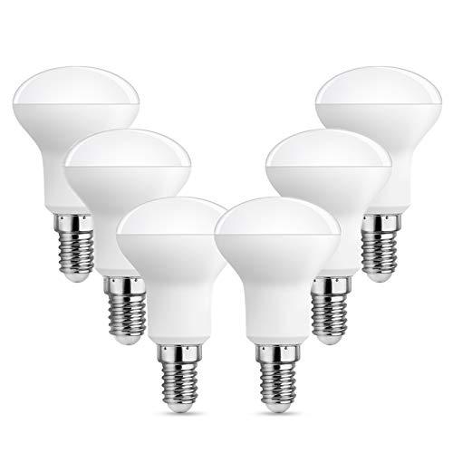 Lampadine E14 R50 LED Luce Calda 2700K, 500 Lumen, 5W Equivalente a E14 Incandescenza 40W-50W, AC 220V, 120° Faretto LED R50 Piccola per Lampadario/Plafoniera, non-dimmerabile, set di 6