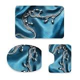 Juego de tapetes de baño, Silver pearl necklace on blue draped silk as a backgroundJuego de tapetes de baño de 3 piezas | | Alfombras de baño antideslizantes + Tapete de contorno + Cubierta de