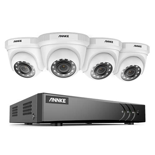 ANNKE Kit Caméra de Surveillance Exterieure 5MP Lite H.265+ DVR avec 4 Caméras 1080p de Vidéosurveillance Blancs et Etanches, Accès à Distance Système de Sécurité, Alarme par E-mail