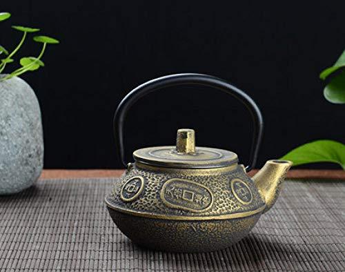 Teteras Tetera de hierro fundido 300ml Tetera pequeña de hierro fundido Arrabio Tetera Tetera de hierro hervida Hervidor de agua Kung Fu Tetera de salud Olla de hierro Oxidado Sin recubrimiento-D_300