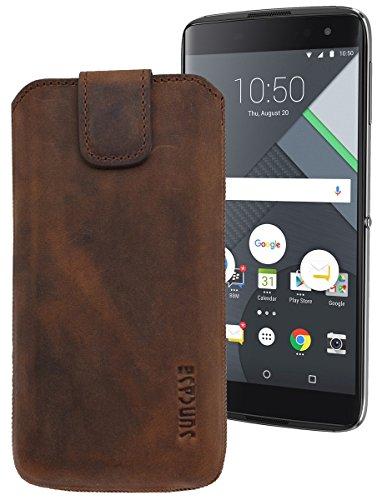 Suncase ECHT Ledertasche Leder Etui für BlackBerry DTEK 60 Tasche (mit Rückzugsfunktion) in antik-coffee