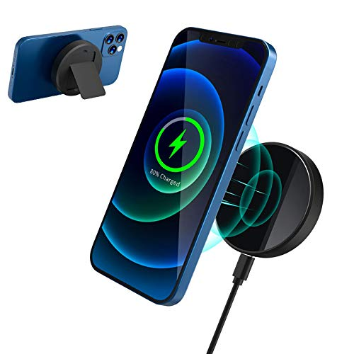 QI-EU Magnetische Wireless Charger, 15W Kabellos Ladegerät mit MagSafe Ladegerät, Induktive Ladestation Kompatibel mit iPhone 12/12 Mini /12 Pro /12 Pro /12 Pro Max, AirPods Pro