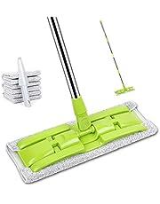 モップ フロアモップ JASKIVI フロアワイパー 回転モップ 「取り替えクロス」4枚付き フラットモップ業務用 マイクロファイバー 片手で操作可能 ウェット・ドライ両用可能 丸洗い可能 腰曲げず 掃除・清掃・床掃除
