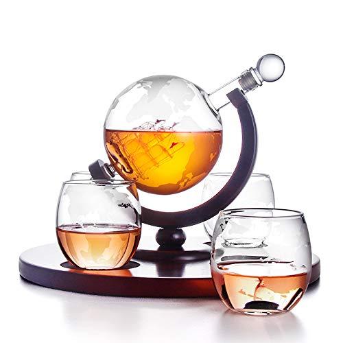 ESGT Geätzt Whiskey Globus Karaffe Anzug, Globus Karaffe Mit 4 Globus Whiskey-Gläser, Für Likör, Scotch, Bourbon, Vodka - 850 Ml, Alkoholbedingte