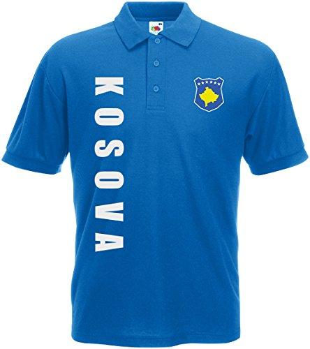 AkyTEX Kosovo Kosova EM-2020 Polo-Shirt Wunschname Wunschnummer Royalblau M