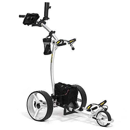 Bat-Caddy X4 Sport Electric Push Cart w/ Free Accessory Kit, 35Ah, Silver