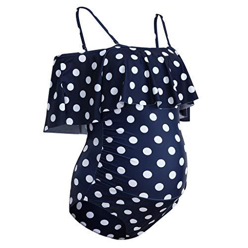 Bañador Traje de baño de Maternidad Premamá para Mujer Floral Volantes Bañador de una Pieza Embarazada Bikini