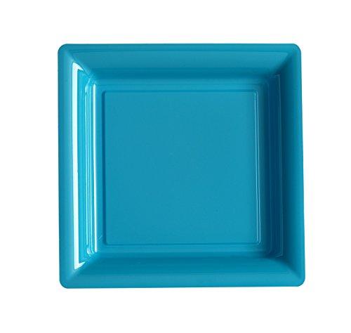 Ma Vaisselle Jetable - Assiette Carree Couleur Turquoise Diametre 180