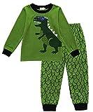 EULLA Jungen Schlafanzug Dinosaurier Bagger Baumwolle Nachtwäsche Kinder Pyjama Dinosaurier DE 116