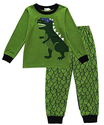 EULLA Jungen Schlafanzug Dinosaurier Bagger Baumwolle Nachtwäsche Kinder Pyjama,Dinosaurier DE 110