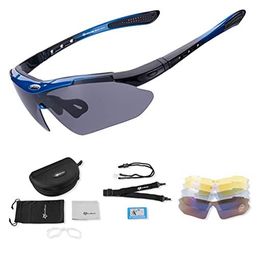 Mantimes Gafas de sol deportivas polarizadas con protección UV Gafas de ciclismo con 5 lentes intercambiables Gafas de bicicleta TR90 marco irrompible (azul)